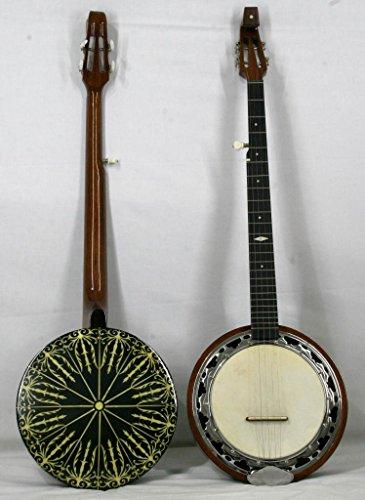 Musikalia Banjo a 5 corde 'Finger-style' doppia cassa, corpo impiallacciato in ebano con ricco intarsio e doppio perfilo...