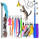 Best Cats Toys - Oziral Cat Teaser, 15PCS Retractable Cat Toy Feather Review