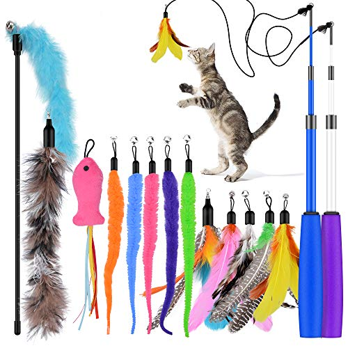 Oziral Cat Teaser, 15PCS Retractable Cat Toy Feather Teaser Cat Toy Cat Wand Feather Interactive Toys with Bells and Feather Refills Set for Indoor Cat and Kitten Exercise