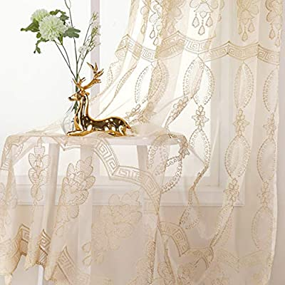 Jiyoyo Embroidered Lace Sheer Curtain For Parlor Window Curtain Treatment Rod Pocket Drape Panel Voile Living Room(1 PANEL, W 50 x L 95 inch, Beige Bottom + Silve intetwined Yellow threads Embroidery)