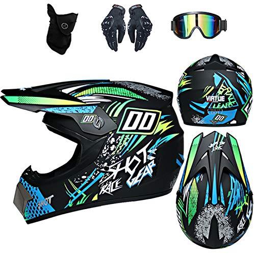 Casco de motocross infantil D. O. T Standard – para adulto con guantes, gafas, máscara, cruce, Cross Country MTB Ados (negro)