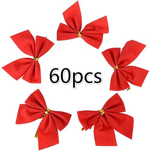 60 Stück Weihnachten Schleifen Zierschleifen Weihnachtsbaum Schleifen Rot Weihnachtsdeko für Weihnachtsbaum, Dekorationen, Geschenke, Kunst und Handwerk