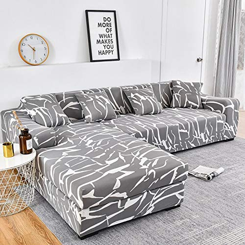 Abukjm Copridivano ad angolo, a forma di L, con stampa, elastico, per proteggere il divano dai graffi degli animali, per la sala, il giardino