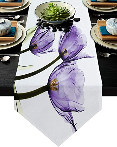 WUCHENG Boda Fiesta Navidad Pastel Floral Mantel decoración del hogar púrpura Floral Moderno Abstracto Mesa Moderna Corredor Camino de Mesa (Color : CYA00001, Size : 46x183cm)