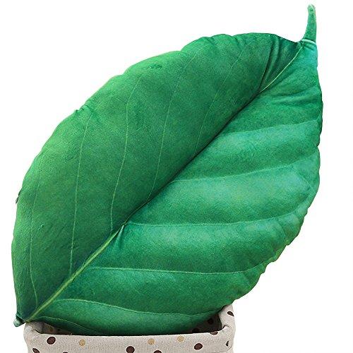 Qinlee Cojín de peluche con forma de flor grande y hoja, cojín de peluche para sofá, coche, decoración para el hogar, cumpleaños, regalo para mujeres y niñas (verde 2)
