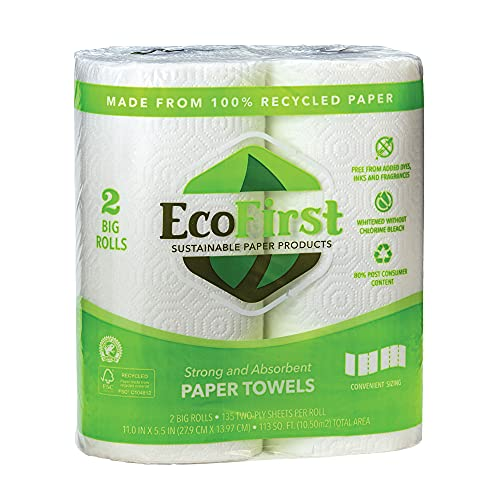EcoFirst Recycled Paper Towels (2 Rolls) - Bulk Paper Towels - Paper...