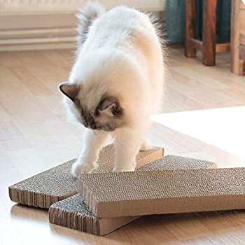 Navaris Griffoir pour Chats - Set 3X grattoir pour Chat en Carton ondulé 41 x 13 x 3 cm - Protection XXL canapé Meuble Mur - pour Chaton Chien