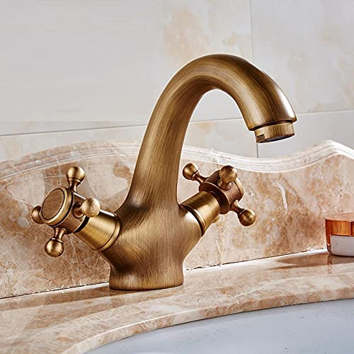 Todo cobre antiguo grifo estilo europeo retro baño lavabo grifo retro sobre encimera lavabo lavabo agua fría y caliente dragon-Short