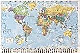 1art1 Mapas - Mapa del Mundo Político con Banderas Póster (91 x 61cm)