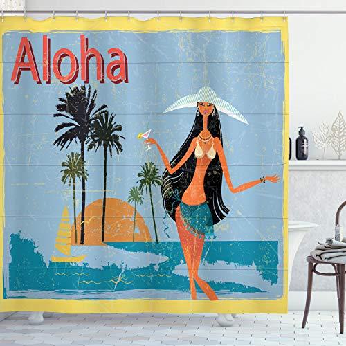 ABAKUHAUS Aloha Tenda da Doccia, Brunette Capelli Hawaiana Lady, Tessuto Set di Decorazioni per Il Bagno con Ganci, per la Vasca da Bagno, 175 cm x 200 cm, Multicolore