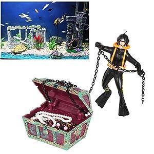 YAKAMOZ Aquarium Ornament Action Undersea Treasure Chest Diver Fish Tank Decorations, Black