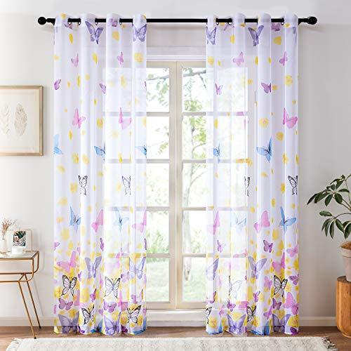 Topfinel Lot de 2 Rideaux Voilage Imprimé de Papillons Bleu Décor Chambre Enfant Salon 140cm x 160cm (Largeur x Longueur)