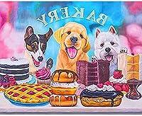 BDDZYMCZYX クロスステッチキット 14CT プレプリント刺繡工芸品スターターキッ初心者トコットン手刺繍室内装飾 40×50cm犬のデザートケーキ