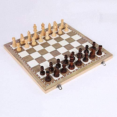 Djrh 3 en 1 leña de ajedrez internacional, tablero de ajedrez de espacio de almacenamiento interior grande plegable, tablero de ajedrez de madera con grano fino bellamente hecho para niños, adulto | p