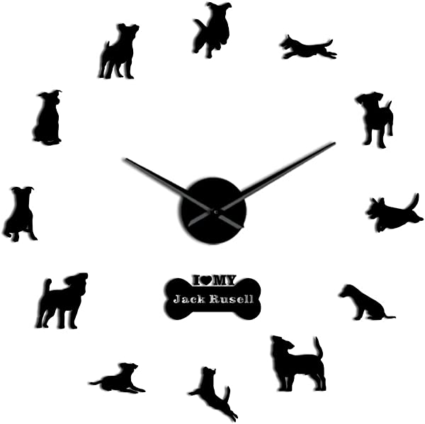 GZGJ Fox Hunting Dog Jack Russell Terrier Large Size Contemporary Wall Clock Small Terrier Dog Breed Gift Mirror Effect DIY Wall Art
