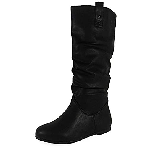 WOMENS PIXIE MID CALF ROUCHED FLAT PULL ON KNEE LONG LADIES SLOUCH BOOTS  SIZE 3- 46d387e117
