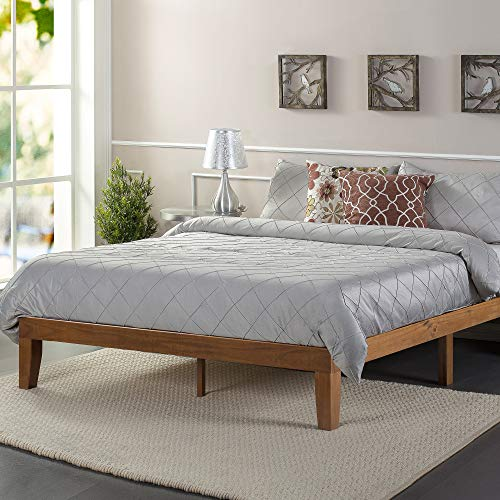 ZINUS Alexia Wood Platform Bed Frame / Solid Wood Foundation / No Box Spring Needed / Wood Slat Support / Easy Assembly, Rustic Pine, King