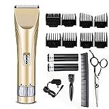 Jingfude Tondeuse Cheveux Professionnelles pour Homme Tondeuses Barbe Electrique Rasoir Couper Cheveux Imperméable avec 2 Piles Rechargeables 8 Peignes