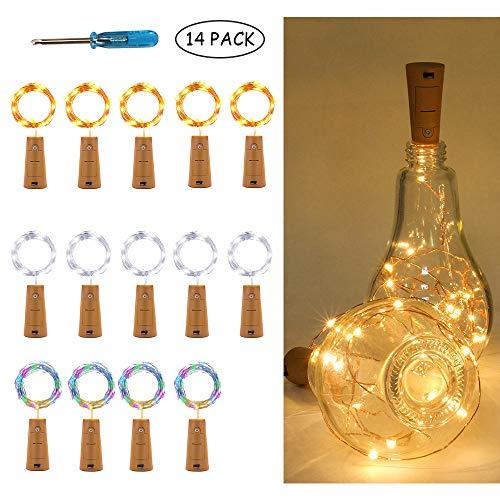 Lichterkette für Weinflaschen, 2 m, 20 LEDs, warmes Licht, Mikro-Kork, Kupferdraht, batteriebetrieben, für Heimwerker, Weihnachtsdekoration, Hochzeit und Party, 14 Stück