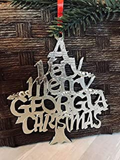 A Very Merry Georgia GA Christmas Ornament Pewter