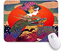 Mabby ゲームオフィスのマウスパッド,Geisha with Dragon,Non-Slip Rubber Base Mousepad for Laptop Computer PC Office,Cute Design Desk Accessories