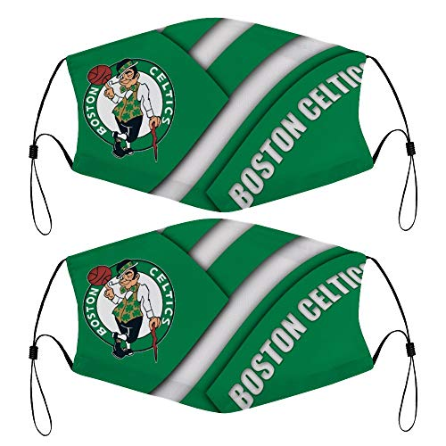 2 Pcs Boston Celtics Teenager Face Mask Face Cover Washable Guard for Kids and Adolescent