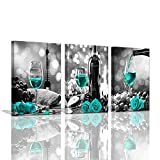 Kitchen Wall Art Wine Decor for Kitchen Decorations Wall Black and White Wall Art Modern Turquoise Wall Decor Rose Romantic Dining Room Wall Decorations Artwork for Home Walls Stretched 12x16inchx3pcs