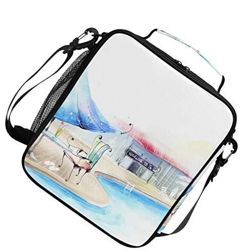 Geïsoleerde schouder verstelbare riem verwarmer koeler lunchpakket zwembad tijd voor een picknick.