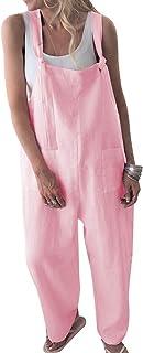 Unifizz Women's Loose Suspender Trousers Wide Leg Overalls Jumpsuit Romper Harem Pants Plus Size