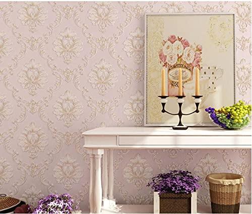 3D Papel Pintado No Tejido 9,5 m x 0,53 m Flor grande finamente prensada Papel de Pared para Sala de Estar Habitación Cocina Comedor Fondo de TV, Rosa carne