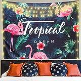Soxtome Tapiz tropical para colgar en la pared, planta de flamenco, hojas verdes, tapices de pared para dormitorio, decoración del hogar