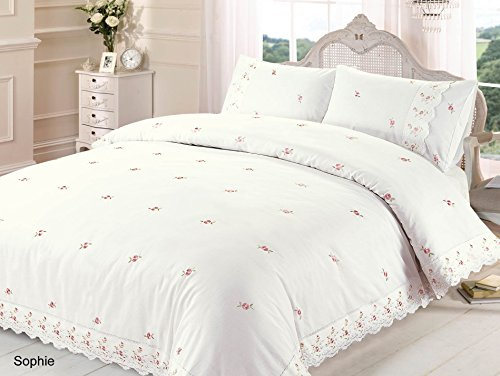 Sophie Duvet Quilt Cover Floral Lace Trim Embroidered Bed Set, Polyester-Cotton, Cream, Double