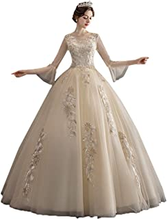 Bride Tulle Long Sleeve Wedding Dress Formal Party Fluffy Skirt Elegant Lace Prom Gown beautiful