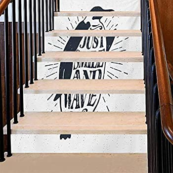Stair Mural Penguin Waving His Flipper and Just Smile and Wave Text in The Belly Kitchen Bathroom Wallpape Use as A Backsplash in Your Kitchen Dark Blue Grey and White 39 x 7 Inch 6 PCS