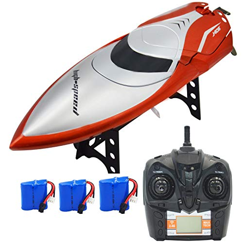 Blomiky H106 2.4GHz Racing RC Boat for River Lake or Pool--High Speed Remote Control Boat for Adults and Kids Bonus 2 Battery H106