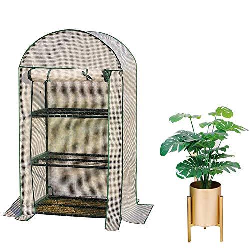 Gewächshaus Balkon Kuppel Warm Halten Pflanzregal 3/4 Schicht Blumen Balkon Stabil Leicht Zu Falten Folie, 2 Farben 2 Größen Gzhenh (Color : White-69x49x125cm)