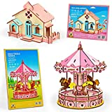 3D Wooden Puzzles for Kids Ages 12-14 Years Old - DIY Model Craft Kit Pink Carousel and Cottage- 2 Set Brain Teaser Puzzles for Girls and Adults