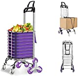 JAUREE Grocery Cart, Folding Shopping Cart for Groceries, Upgraded Utility Cart with Rugged Aluminum Frame Lightweight Stair Climbing Shopping Trolley with Removable Waterproof Oxford Bag (Silver)