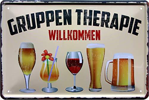 Gruppentherapie Alkoholiker Wein Bier 20x30 cm Blechschild 1177