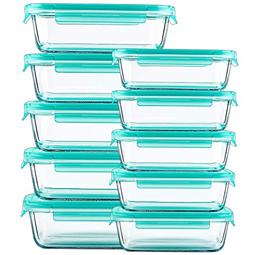 Glass Containers for Food Storage with Lids - 10 Pack, 2 Sizes (34 Oz, 12 Oz) Meal Prep Containers, Airtight Glass Lunch Bento Boxes, BPA-Free
