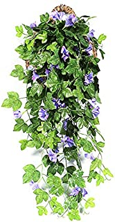 BELUPAID Artificial Vines Morning Glory Hanging Plants Silk Garland Fake Green Ivy Wall Hanging Home Garden Patio Fence Hanging Baskets Decoration (Purple Blue)