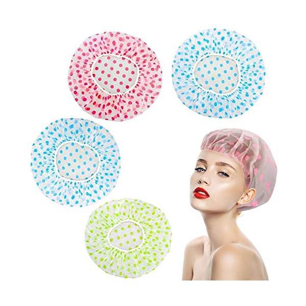 4 Pieces Waterproof EVA Plastic Caps,Elastic Reusable Bathing Hair Cap,Beauty Salon...