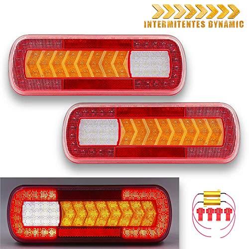 Kit fanali posteriori a LED, 12 V, 24 V, con frecce, omologati, per camion rimorchio