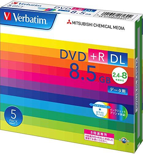 バーベイタムジャパン(Verbatim Japan) 1回記録用 DVD+R DL 8.5GB 5枚 ホワイトプリンタブル 片面2層 2.4-8倍速 DTR85HP5V1