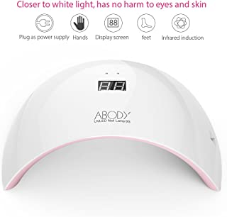 Abody Nail dryer, 24W LED UV Nail Gel Curing Lamp, LCD Display with USB Port Electricity Supply, 30 & 60 seconds Timer Setting, Nail Gel Polish Dryer for Fingernail & Toenail. Pink