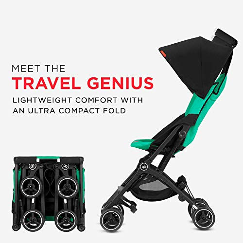 Image of gb Pockit+ Lightweight Baby Stroller, Umbrella Stroller, Collapsible, Travel-Friendly, Folds into Backpack, Fits in Overhead Compartments, Reclining Seat, UPF50+ Sun Canopy, Laguna Blue