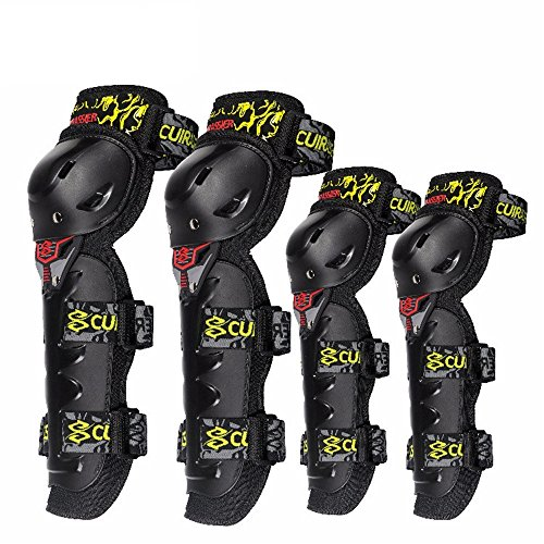 Shenghua1979 Best Knee Brace for Men & Women 4 Pieces Motorcycle Knee Pads Elbow Protective Gear Multi-Sports Protective Gear Set Skateboard Single Row Skating BMX Bicycle Scooter (Color : Yellow)