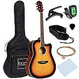 Best Choice Products Beginner Acoustic Electric Guitar Starter Set 41in w/All Wood Cutaway Design, Case, Strap, Picks, Tuner - Sunburst