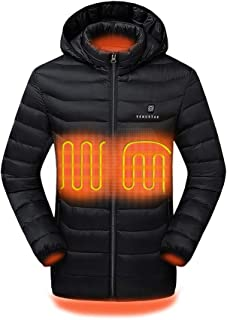 Venustas [2019 Upgrade] Heated Jacket with Battery Pack (Unisex), Heated Coat for Women and Men with Detachable Hood … Black