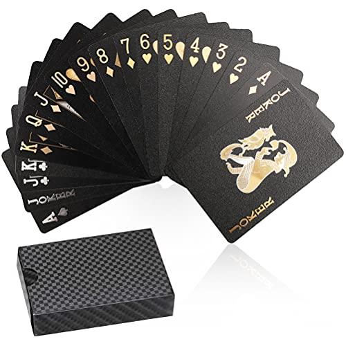Jeux de Cartes à Jouer, Jeux de Cartes Poker Étanches en Plastique 54 Diamond Noir Nouveauté Playing Cards pour Classic Magic Poker, Fête, Jeux